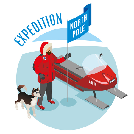 Arctic expedition isometric round composition with scientist holding north pole flag, husky and snow mobile, vector illustration
