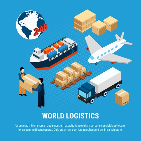 Various kinds of logistics freight transport and delivery service worker set isolated on blue background 3d isometric vector illustration 일러스트