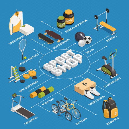 Sport shop gaming and training equipment clothing shoes and nutrition isometric flowchart on blue background vector illustration Illustration