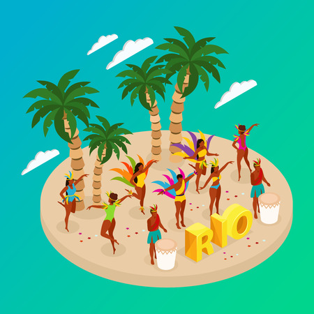 Brazilian carnival concept with dancing people and beach symbols isometric vector illustration