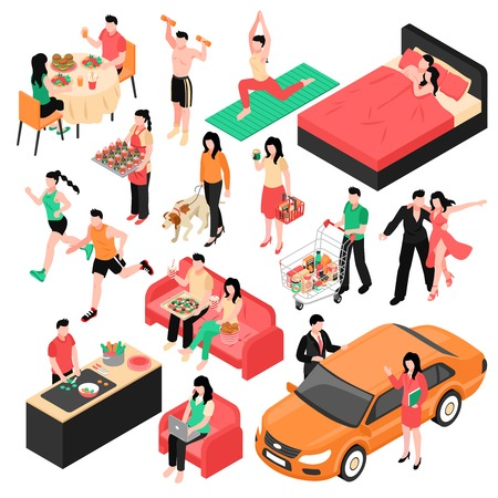 Daily routine man and woman isometric set couple during eating work shopping and sleep isolated vector illustration