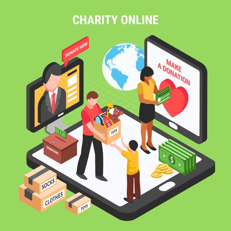 Charity online isometric composition with volunteers conducting donation drive for children and needy people vector illustration