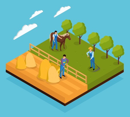 Ordinary farmers life isometric composition with view of various field works and animal grazing farming activities vector illustration