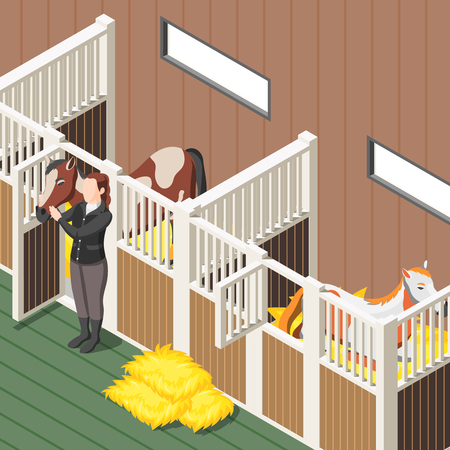 Horse stable interior isometric background with horses in stall and female figurine in jockey form vector illustration Illustration