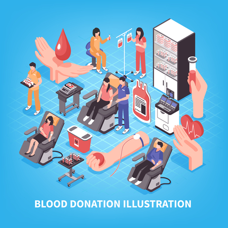 Donation and blood bank medical staff and equipment on blue background isometric vector illustration