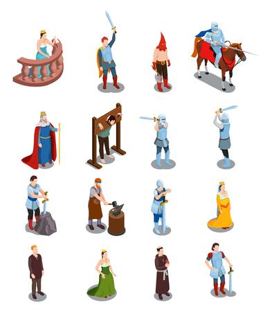 Icone isometriche medievali con persone reali cavalieri scena di tortura sacerdote e fabbro illustrazione vettoriale isolato Vettoriali