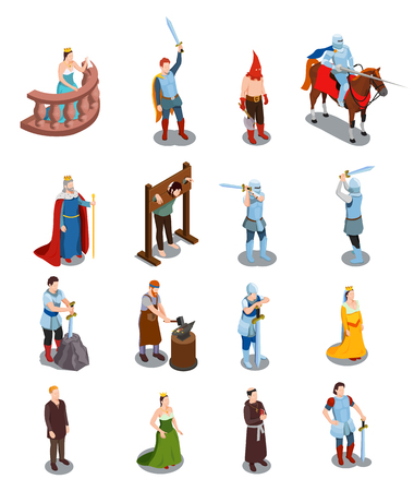 Medieval isometric icons with royal persons knights torture scene priest and blacksmith isolated vector illustration Vettoriali