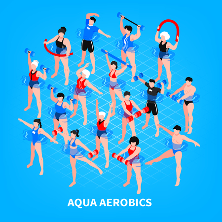 Aqua aerobics isometric composition on blue background men and women with sport equipment during training vector illustration