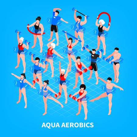 Composición isométrica de aeróbic acuático sobre fondo azul hombres y mujeres con equipamiento deportivo durante el entrenamiento ilustración vectorial