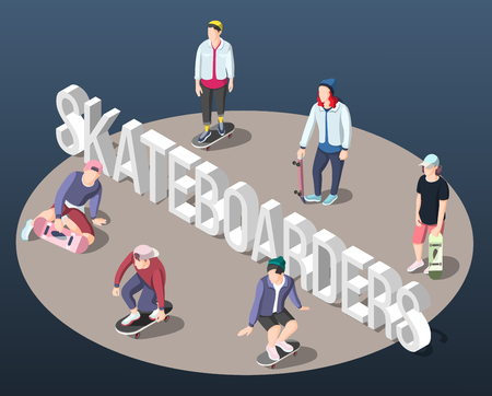 Skateboarding isometric background with teenagers on skateboards standing on perimeter of circle vector illustration Illustration