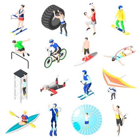 Conjunto de iconos isométricos de deportes extremos de jóvenes que participan en power show parkour bungee jumping buceo kayak snowboard paracaidismo aislado ilustración vectorial