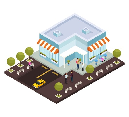 Urban architecture isometric composition with small modern coffee shop cafe building exterior parking lot customers vector illustration