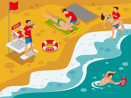 Beach lifeguards isometric composition with professional rescue team working with tourists caught in dangerous situation vector illustration