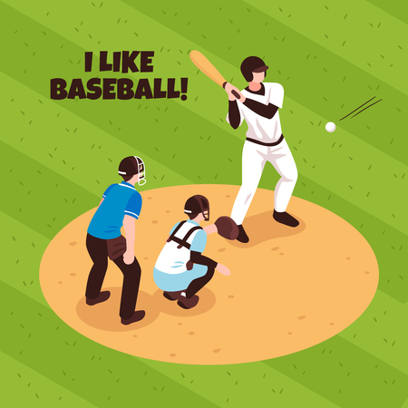 Players and referee during baseball match on game field background isometric vector illustration