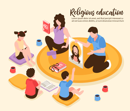 Catholic religious home education parents showing children bible and portrait of jesus isometric vector illustration Illustration