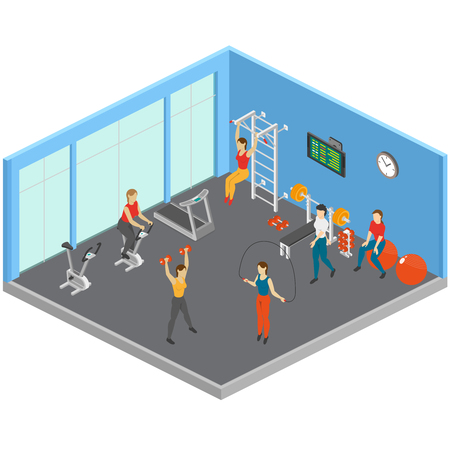 Fitness isometric composition with sport exercise room with big windows sporting equipment and people working out vector illustration