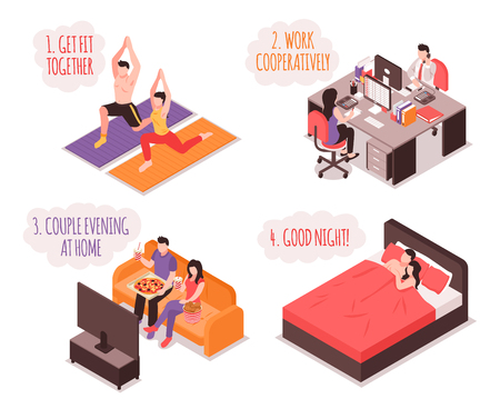 Daily life of couple isometric concept fitness and work together home evening and sleep isolated vector illustration Archivio Fotografico - 103876975