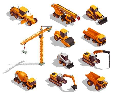 Il macchinario di costruzione giallo nero per i lavori stradali e l'insieme della costruzione delle icone isometriche ha isolato l'illustrazione di vettore