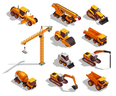 Maquinaria de construcción amarilla negra para obras viales y conjunto de construcción de iconos isométricos aislados ilustración vectorial