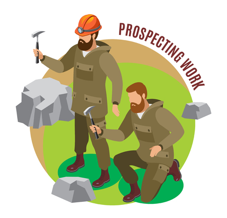 Scientists during prospecting work with rock formations isometric round composition on colored background vector illustration Illustration