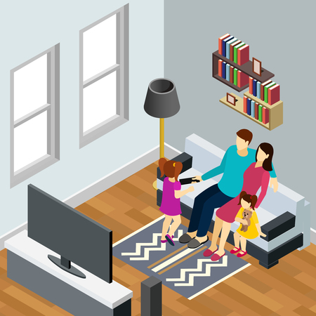 Young family with 2 little daughters watching tv home isometric composition with living room interior vector illustration Archivio Fotografico - 103876977
