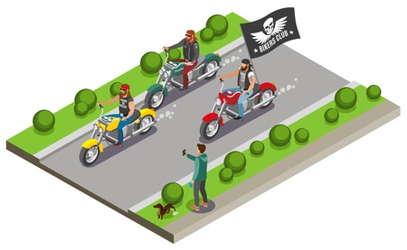 Bikers isometric composition with view of street motorway and three motorcycles with streaming flag of gang vector illustration Illusztráció