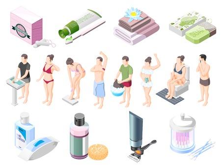 Los iconos isométricos de higiene personal establecen jabón, champú, crema de afeitar, toallitas húmedas, toallas, tampones para la ilustración de vector de higiene íntima
