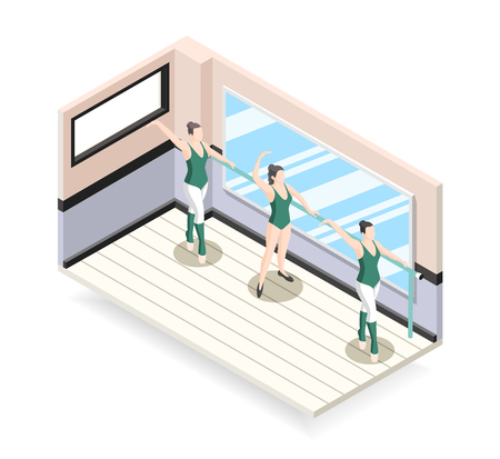 Training of ballet dancers isometric design concept with three ballerinas characters doing exercises at barre vector illustration