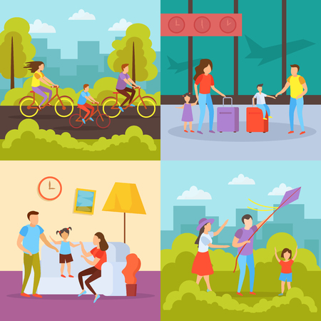 Family free time activities 4 orthogonal icons concept with vacation travel outdoor cycling home together vector illustration