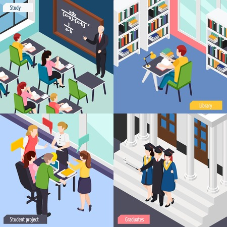 University students in library lecture classroom busy with project 4 isometric college life concept icons vector illustration Stock Vector - 103877083