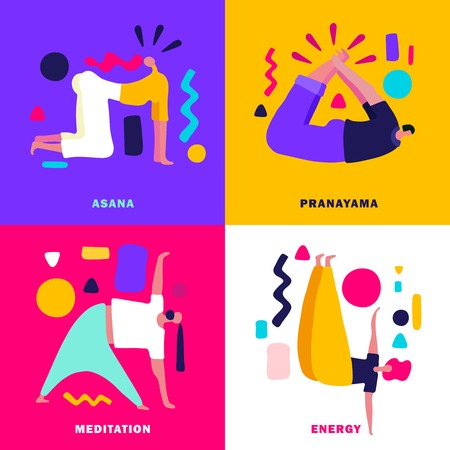 Various yoga poses colorful 2x2 design concept flat isolated vector illustration