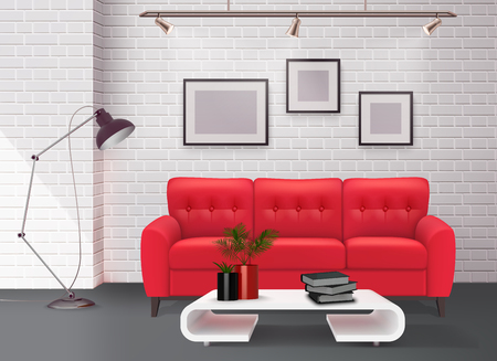 Contemporary simple clean living room interior design detail with stunning leather red sofa accent realistic vector illustration