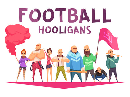 Criminal composition with cartoon style human characters of football hooligans with missiles flags and editable text vector illustration