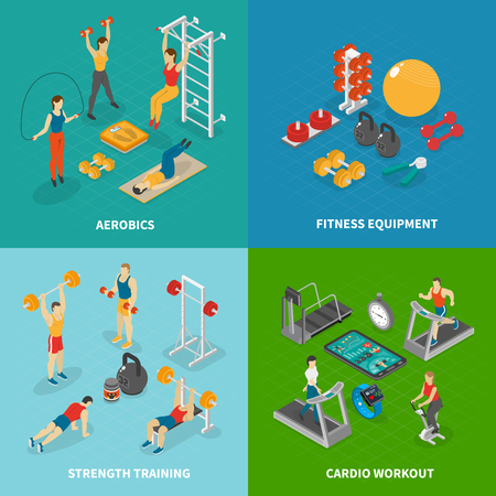 Fitness isometric design concept with four compositions of gymnastic apparatus images and human characters of athletes vector illustration
