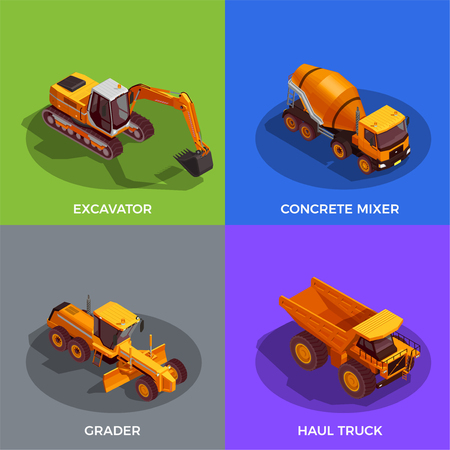 Black yellow building vehicles for ground work and transportation of materials isometric design concept isolated vector illustration Illustration