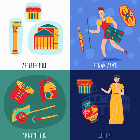 Ancient rome empire design concept with isolated flat icons of vintage symbols costumes and human characters vector illustration Illustration
