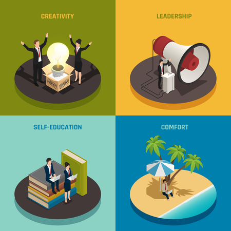 Entrepreneur concept with creativity leadership self education and comfort isometric design isolated vector illustration