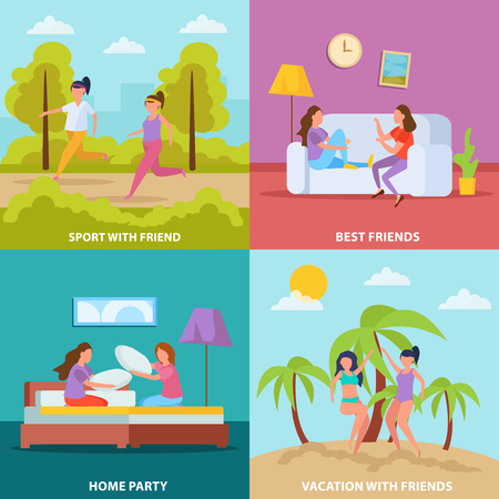 Girls friendship 4 orthogonal icons square concept with home party vacation and sporting together isolated vector illustration