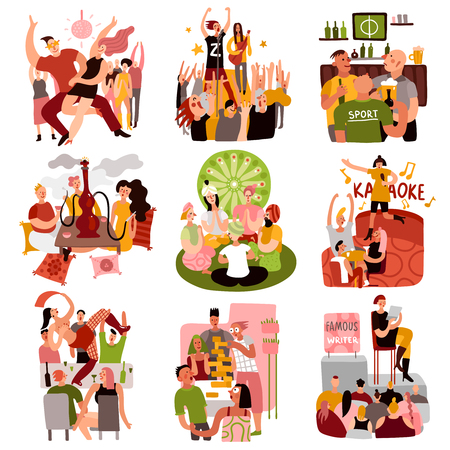 Club party set with dancing games and karaoke symbols flat isolated vector illustration Illustration