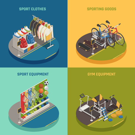 Sport shop isometric design concept with clothing gaming inventory bicycles and skateboards gym equipment isolated vector illustration