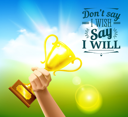 Sports quotes with victory cup and wish symbols realistic vector illustration