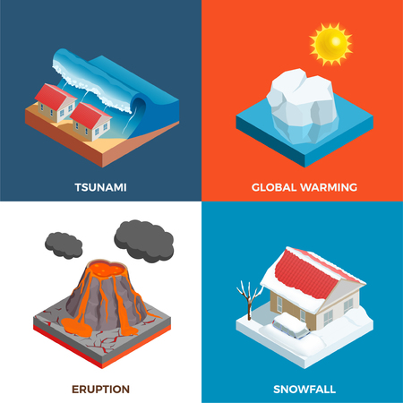 Natural disasters isometric design concept with tsunami volcano eruption snow fall and global warming isolated vector illustration