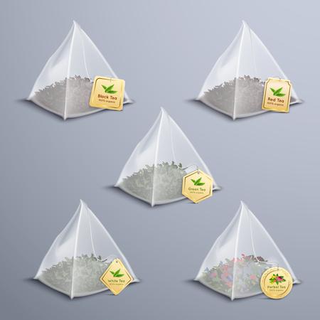 Realistischer Satz des Teepyramidenbeutels mit der isolierten Vektorillustration der schwarzen grünen weißen roten Kräutersorte des Tees Vektorgrafik