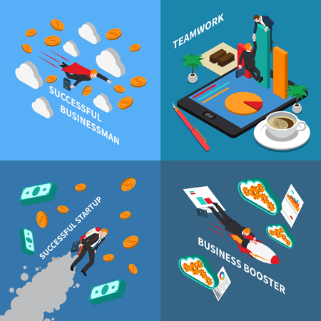 Business booster 2x2 design concept set of business startup teamwork and successful businessman isometric square compositions vector illustration