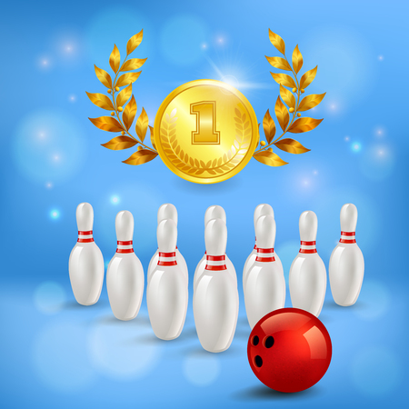 Bowling victory 3d composition golden medal with laurels pins and ball on blurred blue background vector illustration