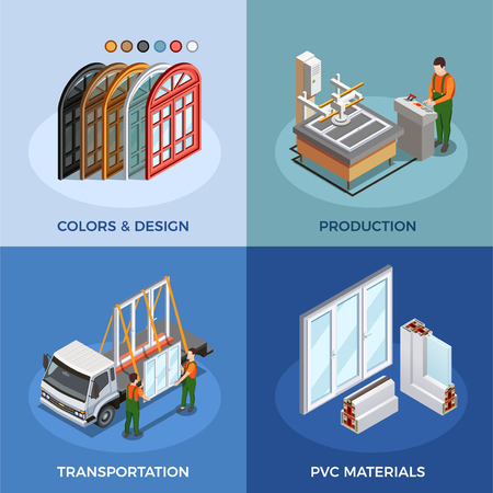 Pvc windows isometric concept with colors and design materials production and transportation isolated vector illustration