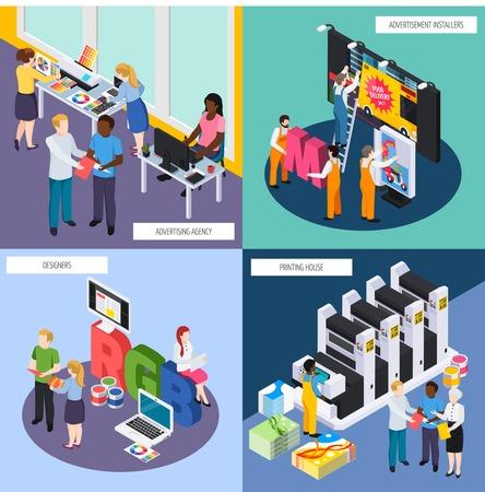 Concepto de personal de agencia de publicidad isométrico 4 iconos con diseñadores pancartas signos instaladores imprenta ilustración vectorial aislada Ilustración de vector