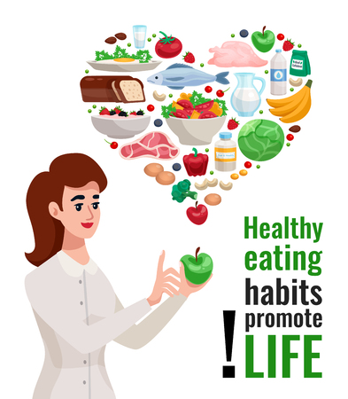 Healthy eating advertising poster with young woman holding green apple and useful food icons in heart form cartoon vector illustration Illustration