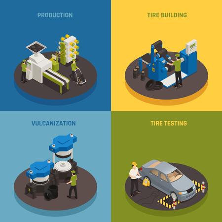 Het isometrische ontwerpconcept van de bandenproductie met industriële apparatuur en het creëren van personeelsproducten en het testen van geïsoleerde vectorillustratie