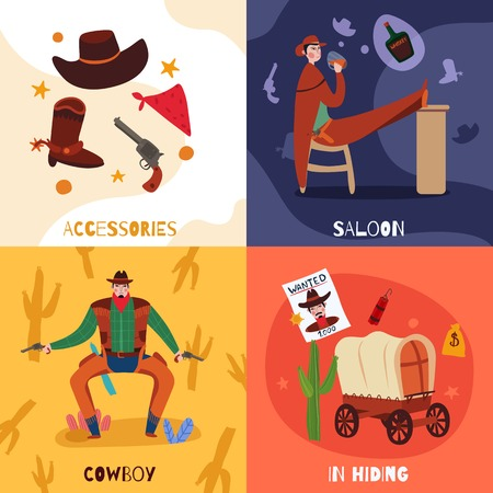 Wild west cowboy design concept with compositions of flat icons text and images of vintage stuff vector illustration Illustration